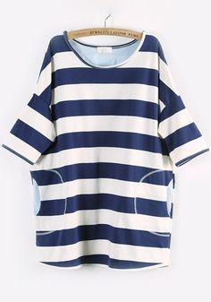 Navy Blue Striped Half Sleeve Cotton Blend T-Shirt