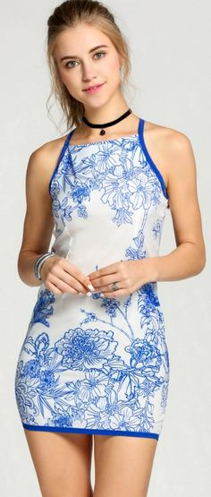 Product Description: Chinese Style Women Sleeveless Print Bodycon Mini Penicl Dress Material: Polyester, Color: Blue, Design: Pencil Dress, Season: Summer, Autumn, Collar: Halter, Sleeve: Sleeveless,