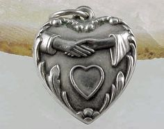 Vintage Sterling Silver PUFFY HEART ~  HANDSHAKE PROPOSAL Charm DELMA on Back