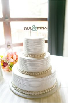 Dallas wedding photographer, 3-tier white wedding cake, mr and mrs cake topper, Old Town Plaza Wedding | Norman, OK » Mary Fields Photography
