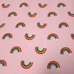 Rainbows on Pink Cotton Interlock