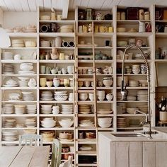 crazy awesome kitchen shelves, love the ladder, must have a ladder!