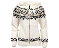 Brynja Icelandic Wool hand knitted Jumper with Zipper and Hood Traditional Pattern
