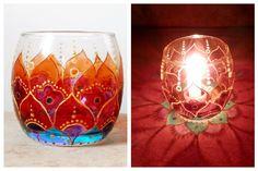 Porta vela em vidro pintado à mão em técnica vitral. <br>Para fazer sua sala de estar ainda mais aconchegante. <br> <br>Perfeito para presente!