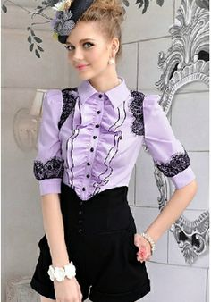 Fancy Turn-down Collar Long Sleeves Lace Shirt