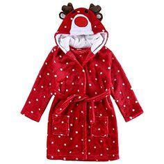 6ec10ae6e42ca4 SODIAL Accappatoio di flanella di bambina Cervo di Natale rosso 120: 5T # pantaloni #