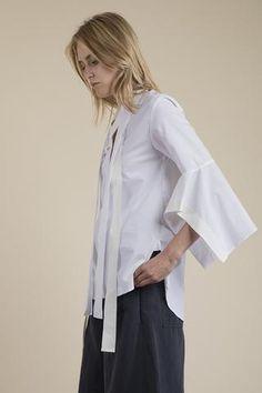 Palmer//Harding - Pussy Bow Poplin Shirt Draping Techniques, Palmer Harding, Pattern Cutting, Poplin, Branding Design, Bell Sleeve Top, Bow, Shirts, Women