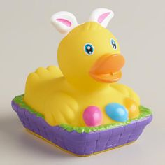 One of my favorite discoveries at WorldMarket.com: Easter Bunny Ears Rubber Duck
