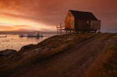 Greenland Sunset Greenland Travel, Cabin, Sunset, House Styles, Places, Home Decor, Sunsets, Homemade Home Decor, Lugares