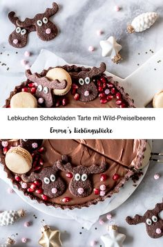 Lebkuchen Schokoladen Tarte Rezept mit Elchen und Preiselbeeren Gingerbread Schokomousse #tarte # Schokoladen #elche #mousse Emma´s Lieblingsstücke Christmas Wreaths, Christmas Tree, Holiday Recipes, Blogging, Sweets, Chocolate, Holiday Decor, Food, Seasons