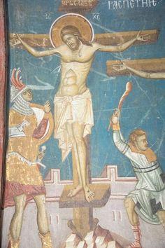 The Crucifixion Visoki Decani Monastery Kosovo Serbia West Arch: Fresco, Byzantine Icons, Byzantine Art, Tempera, Crucifixion Of Jesus, Life Of Christ, Best Icons, Religious Images, Orthodox Icons