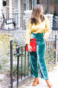 How to wear velvet with patent for fall?