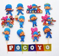 12 Pocoyo Birthday Party Cupcake Cake Sticker by KidsLoveEm, $7.50