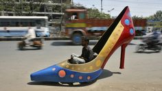 Hyderabad, India, March 2012  This motorized high heel was designed by Sudhakar Yadav for the International Women's day.