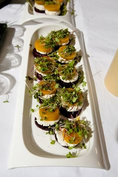 Roasted beet and goat cheese napoleon topped with micro greens…  Wedding food ideas
