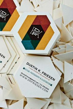 Uniquely Shaped Business Cards. Nice use of subtle transparency