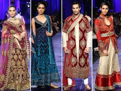 There was a great use of rich colours in deep blue and red, on outfits for men and women. Fabrics used were fine silks, jacquards, georgette, rich velvets, dupion, all heavily embellished with the finest of metal work, zardozi, badla, resham and inlaid with semi precious stones to create the glory of the past with the fusion of the present.