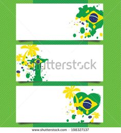 banner design, Watercolor in Brazil flag concept