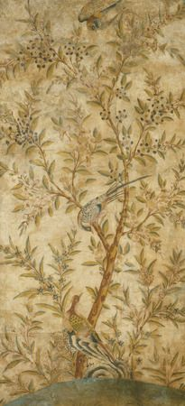 Chinoiserie #wallpaper panel, watercolour on paper, from Wotton-under-Edge, England, c. 1740 | Shop on surfaceview.co.uk #art #decor #interiors