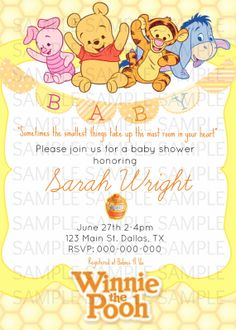 winnie the pooh baby shower invitations instant download, invitation samples