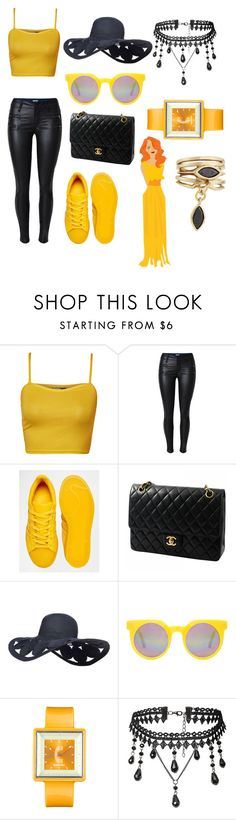 """""""black&yellow"""" by amra-husejnovic ❤ liked on Polyvore featuring WearAll, adidas, Chanel, Quay, Appetime, Eddie Borgo, yellow, black and polyvorefashion"""
