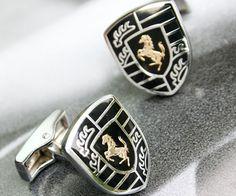 Ferrari Logo Shaped Black Enamel Cufflinks
