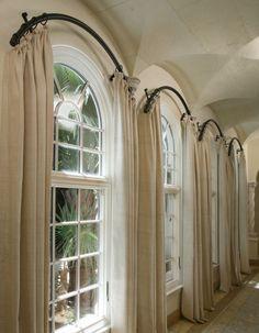 half moon window curtain ideas - Google Search - love these rods!!