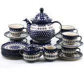 Zestaw deserowy duży - ceramika bolesławiecka