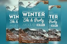 Winter Ski Party Flyer Template by Flyermind on @creativemarket