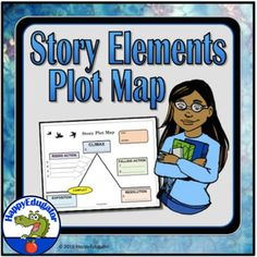 Story Elements Plot Map by HappyEdugator Theme Of A Story, Plot Map, Plot Diagram, Literary Terms, Sequence Of Events, Middle School Teachers, Teacher Resources, School Resources, Teaching Ideas
