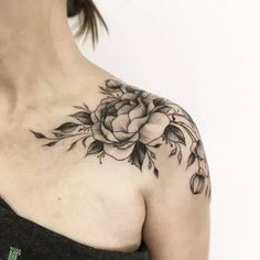 Elegant peony tattoo on shoulder by Vitalia Shevchenko #TattooYou #TattooIdeasInspiration