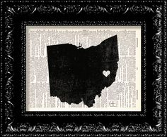 I Heart Ohio  State Map  Map Art Print by TheRekindledPage on Etsy, $6.98