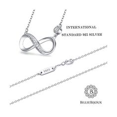"""2bff159c663182 Billie Bijoux 925 Sterling Silver #Necklace Forever Love"""" Infinity Heart  Love #Pendant White"""