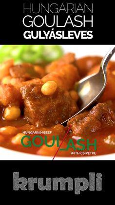 Goulash Recipes, Beef Recipes, Soup Recipes, Dinner Recipes, Cooking Recipes, Croatian Recipes, Hungarian Recipes, New Zealand Food And Drink, Hamburger Dishes
