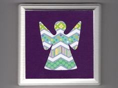 "Angel 5"" x 5"" Wood Plaque - Purple Fiesta - Colorful Baby Girl Room Decor - Nursery Wall Art - Spiritual Religious Catholic - Free Shipping"