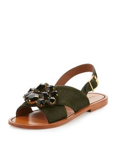 d82937c900b Marni Jeweled Calf Hair Crisscross Sandal