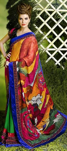 121353: Look at the painted horse on this saree. so artistic. #art #canvas #painting