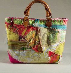 "Items similar to Chic, One-of-a-kind, Custom, Fabric Collage ""Perfect for Summer"" Tote bag on Etsy Fabric Purses, Fabric Bags, Patchwork Bags, Quilted Bag, My Bags, Purses And Bags, Summer Tote Bags, Sacs Design, Art Bag"
