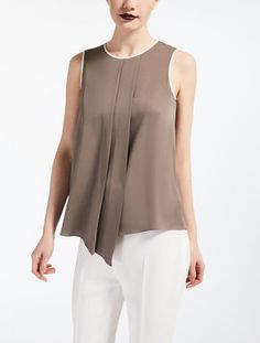 Women's Tops and T-shirts Fashion Moda, Womens Fashion, Beige Outfit, Denim And Lace, Silk Charmeuse, Couture Tops, Dress Sewing Patterns, Blouse Dress, Elegant Outfit