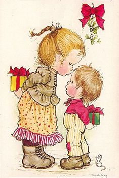 Vivien Kubbos's art of Sarah Kay Sarah Key, Vintage Christmas Cards, Christmas Images, Christmas Art, Vintage Cards, Illustrations, Graphic Illustration, Holly Hobbie, Australian Artists