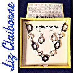 SALE⚡️Liz Claiborne Choker & Earring Set Liz Claiborne Choker & Earring Set Silver and Grey Link Choker Silver Drop Earrings  Made in China Liz Claiborne Jewelry Necklaces