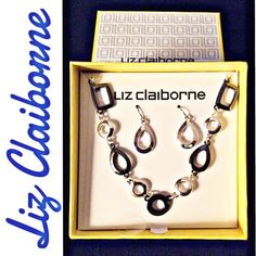 Liz Claiborne Choker & Earring Set Liz Claiborne Choker & Earring Set Silver and Grey Link Choker Silver Drop Earrings Made in China Liz Claiborne Jewelry Necklaces