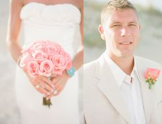 Beach vow renewal...  Pink and khaki !!!!    I love the idea !!!