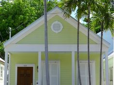 A Conch cottage the exact shade of key lime pie. Key West's indigenous architecture was often built by ships' carpenters and blends West Indian, Colonial and Victorial styles. Key West, Florida ~j~4