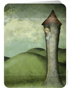 Rapunzel - Rapunzel looking out from the tower with her long hair falling down - Illustration print by Maja Lindberg (Seden) Majali Design & Illustration. Rapunzel Story, German Fairy Tales, Santoro London, Drawn Art, Wow Art, Fairy Land, Whimsical Art, Graffiti, Illustrations Posters