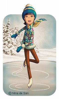 quenalbertini: Christmas vacation by Nina de San Winter Illustration, Illustration Art, Inspiration Art, Marquis, Ice Skating, Oeuvre D'art, Cute Art, Paper Dolls, Winter Wonderland