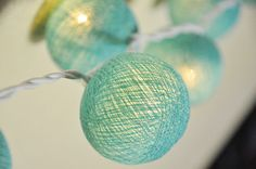 20 Turquoise Cotton Ball String Lights for Deco by wanidacotton