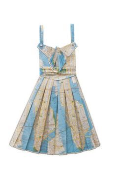 dress made from vintage maps
