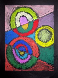 3rd grade Bruce Gray & Sonia Delaunay inspired circles (glue, chalk pastel).   Email me if you'd like a copy of the lesson and/or more pictures! samanthamcginn@gmail.com