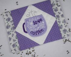 Grace, Hope, Love and Coffee Mug Rug, Lavender Purple Coffee Mugs, Best Coffee Mugs, Coffee Lover Gifts, Coffee Coasters, Tea Coaster, Christian Friends, Christian Gifts, Gift Of Faith, Embroidered Gifts